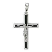 Крест православный прямой с ониксом, белое золото