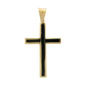 Крест без распятия с ониксом, желтое золото 33 мм