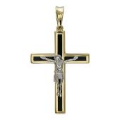 Крест православный прямой с ониксом, желтое и белое золото