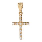 Крест без распятия с бриллиантами, красное золото 20 мм