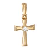 Крест без распятия с бриллиантом, красное золото 22.7 мм