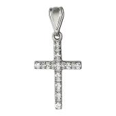 Крест без распятия с бриллиантами, белое золото 21.5 мм