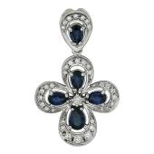 Крест с бриллиантами и сапфирами, белое золото, 30 мм с петелькой