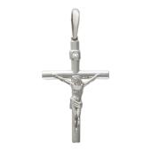Крест православный с бриллиантом, белое золото 28 мм