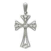 Крест без распятия с бриллиантами, белое золото 25 мм