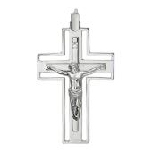 Крест православный с бриллиантами, белое золото 34*23 мм