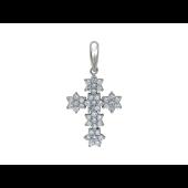 Крест без распятия с бриллиантами, белое золото 23 мм