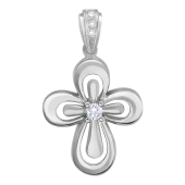Крест православный с бриллиантами, белое золото 20 мм