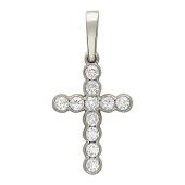 Крест с бриллиантами, белое золото