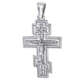 Крест православный с распятием и бриллиантам, белое золото 585 проба