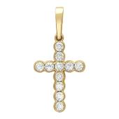Крест с бриллиантами, желтое золото