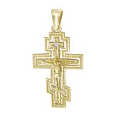 Крест православный с распятием и бриллиантом, желтое золото 585 проба