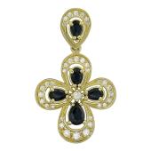 Крест без распятия с бриллиантами и изумрудами (сапфирами), желтое золото 750 проба