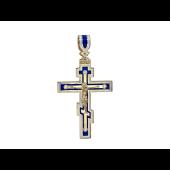 Крест православный бриллиантами, синей и белой эмалью, желтое золото