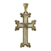 Крест армянский с бриллиантами, желтое золото 750 пробы
