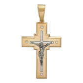 Крест православный прямоугольный с четырьмя бриллиантами, комбинированное золото 32.6 мм