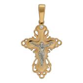 Крест православный с бриллиантами, комбинированное золото 26 мм