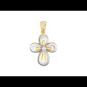 Крест без распятия с бриллиантами, комбинированное золото 20 мм