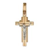 Крест православный большой с бриллиантом, комбинированное золото
