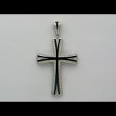 Крест без распятия с бриллиантами и чёрной эмалью, белое золото 750 проба
