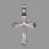 Крест православный с бриллиантами, белое золото 750 проба