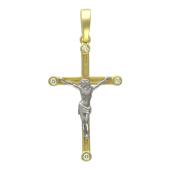 Крест православный тонкий с четырьмя бриллиантами, желтое и белое золото 750 проба 30 мм