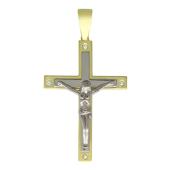 Крест православный с четырьмя бриллиантами, прямоугольный, желтое и белое золото 750 проба 37 мм