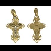 Крест православный широкий узорный с одним бриллиантом, желтое и белое золото 750 проба 26 мм