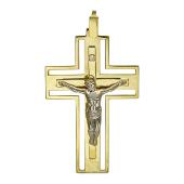 Крест православный прямоугольный широкий с одним бриллиантом, комбинированное золото 750 проба 34*23 мм
