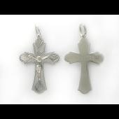 Крест православный большой, алмазная огранка, белое золото 31 мм