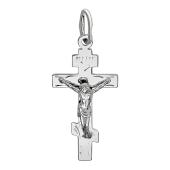 Крест православный восьмиконечный, белое золото 26*15 мм