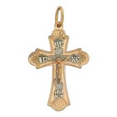 Крест православный, красное и белое золото 585 пробы, надпись Спаси и сохрани 31 мм