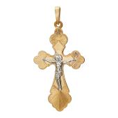 Крест православный, красное и белое золото 74,8 мм