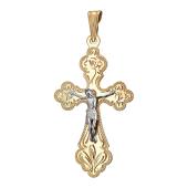 Крест православный с узорами, красное золото, фигура Христа из белого золота 44,8mm