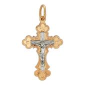 Крест православный ажурный без вставок, красное и белое золото 30 мм