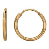 Серьги-кольца конго Диаметр 10мм, красное золото