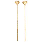 Серьги-продевки из красного золота 585 пробы