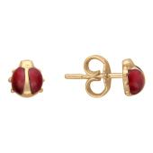 Серьги-гвоздики Божья Коровка, красное золото 585 пробы
