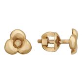 Серьги-гвоздики Трилистник, красное золото 585 пробы