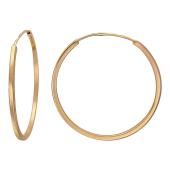 Серьги-конго гладкие, красное золото 35 мм