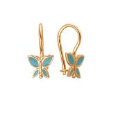 Серьги детские Бабочки с эмалью, красное золото