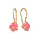 Серьги детские Цветок с розовой эмалью, красное золото