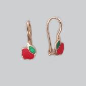 Серьги детские Яблоко с красной и зеленой эмалью, красное золото