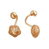 Серьги-джекеты Цветок ажурный выпуклой формы, красное золото
