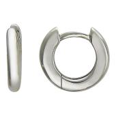 Серьги-кольца гладкие диаметр 1,2 см, белое золото, 585 пробы