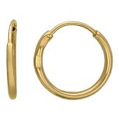 Серьги-кольца конго гладкие диаметр 10мм, желтое золото
