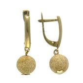 Серьги большой шар, подвешенный на швензе, желтое золото 585 проба