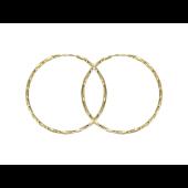 Серьги кольца-конго диаметр 44мм ( 4.4 см), желтое золото