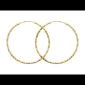 Серьги Конго витые, желтое золото 45 мм