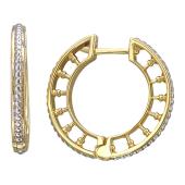 Серьги-кольцо Европа, колонны с родированием, желтое золото